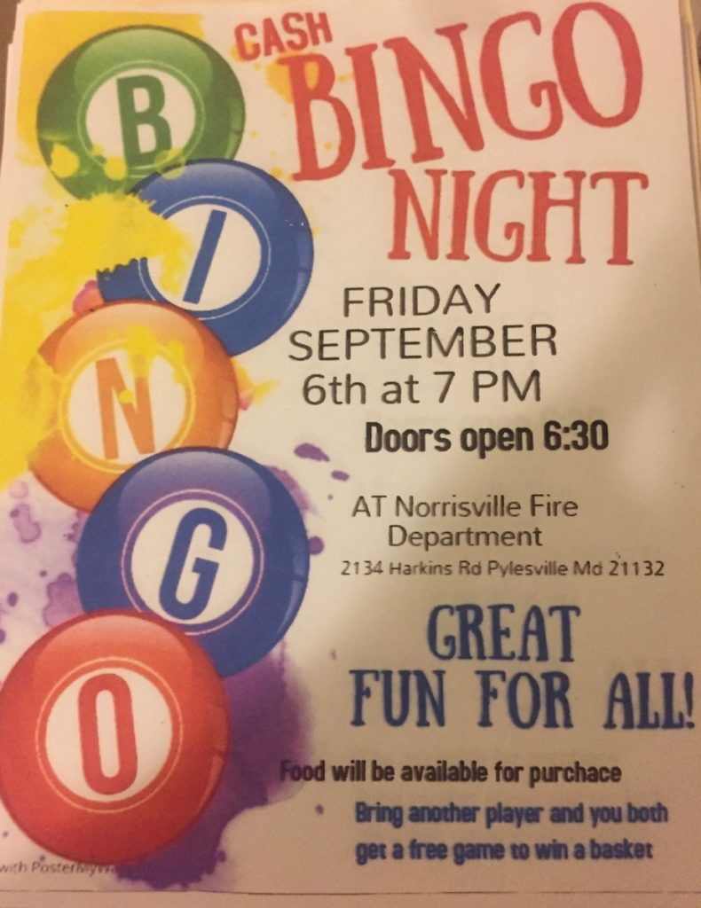 Cash Bingo Night on Sept 6th at 7PM